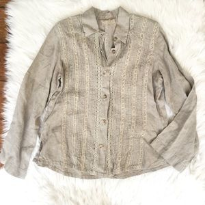 Tops - Italian Made 100% Linen Embroidered Button Up Top